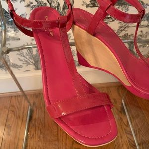 Kate Spade Hot Pink Patent Wedge Sandal 10 EUC